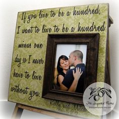 Picture Frame Personalized Picture Frames 16x16 If You Live To Be A Hundred Wedding Aniversary Love Gift Winnie The Pooh. $75.00, via Etsy.