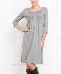 Another great find on #zulily! Gray Pin Tuck Scoop Neck Dress by Reborn Collection #zulilyfinds