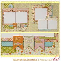 Easter Blessings 2-Page Layout Kit, complete with instructions, by PaisleysandPolkaDots.com for a limited time featured at www.scrapclubs.com