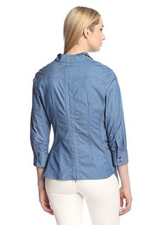 Gracia Women's Side Pleated Flare Shirt (Denim Blue)