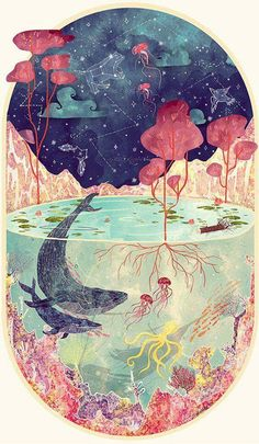 Drawing Fantastical nature illustration by Svabhu Kohli - Illustrator Svabhu Kohli celebrates the splendor of the natural world with intricate works of art. The multi-layered images depict the oceans and cosmos. Art And Illustration, Watercolour Illustration, Creative Illustration, Art Illustrations, Art Inspo, Kunst Inspo, Art Watercolor, Art Auction, Oeuvre D'art