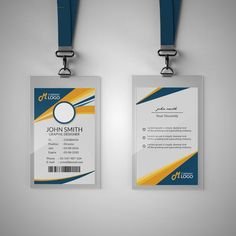 Modern Blue And Yellow Id Card Template Modern Business Card, Professional Business Cards, Identity Card Design, Visiting Card Templates, Credit Card Design, Corporate Id, Id Card Template, Working Blue, Event Planning Business