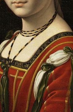 "sadnessdollart: "" Portrait of a woman, called ""La Belle Ferronnière"", Detail. Follower of Leonardo Da Vinci. Probably before 1750 """