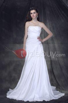 優雅ストラップレスひだ飾りボディススリムシンプルAラインスカートオーダーメイドウエディングドレス