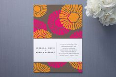 Riviera Wedding Invitations by Pixie Stick Press   Minted- white band as vellum