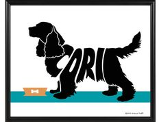 Personalized Cocker Spaniel Print by ElainesPrints on Etsy. Also available with a pair of Cocker Spaniels on one print. Gifts For Dog Owners, Dog Lover Gifts, Dog Gifts, Dog Lovers, Dog Memorial, Memorial Gifts, Top Dog Names, Dog Mom Shirt, Dog Silhouette