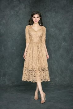 dambody.net - Đầm xòe tay lở ren cao cấp Modest Dresses, Simple Dresses, Elegant Dresses, Beautiful Dresses, Bridesmaid Dresses, Formal Dresses, Lace Dresses, Dress Brukat, Kebaya Dress