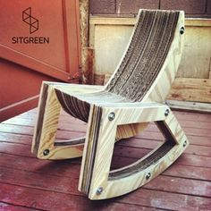 Furniture made from recycled materials, such as this chair from SitGreen, provides an environmentally friendly alternative to products made with new fabric and wood. Photo courtesy of SitGreen. by group 4 Eco Furniture, Recycled Furniture, Pallet Furniture, Furniture Making, Furniture Design, Cardboard Chair, Cardboard Furniture, Wood Projects, Woodworking Projects