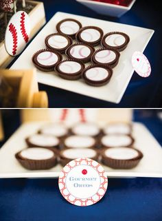 Baseball party inspiration board by Bella Bella Studios ~ Cute ideas via hwtm! #baseball #cupcakes #party #cakepops #ball #bat #crackerjacks #popcorn
