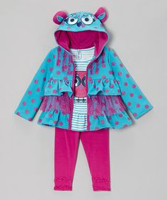 Take a look at this Turquoise Ruffle Tiered Zip-Up Hoodie Set - Toddler by Nannette on #zulily today!