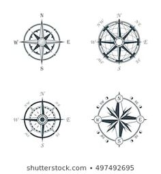 Set of vintage or old different style like globe and arrows compasses for west and east, north and south navigation. Perfect for marine and nautical, ship and topography, maritime theme Mandala Compass Tattoo, Compass Tattoo Design, Body Art Tattoos, Tatoos, Map Symbols, Rose Clipart, Wind Rose, Compass Rose, Sewing Hacks