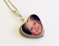 N50  Heart Photo Pendant Framed in Sterling by DelaneyPhotoJewelry, $124.00