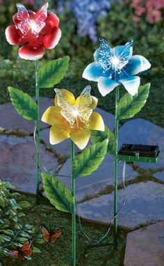 Solar Lighted Flowers with Butterflies Garden
