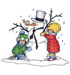 Clear Stamp van Snoesjes. Kinderen maken een sneeuwpop. Afmeting stempel: 7,5 x 5,5 cm Marianne Design Snoesjes I love snowman HM9460