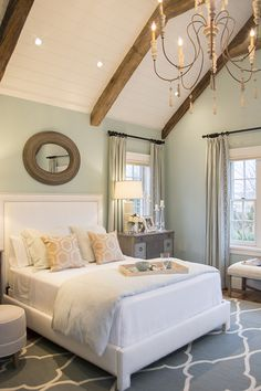 Love the wall color, distressed beams, and white bead board.