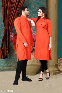 Kurta Sets Trendy Designer Slub Cotton Couple Kurta Set Fabric: Men's Kurti - Slub Cotton , Women's - Slub Cotton Sleeves: Sleeves Are Included Size: Women's Kurti - M - 38 in , L - 40 in, XL - 42 in, Men's - M - 38 in , L - 40 in, XL - 42 in Refer Size chart Type: Stitched Length: Women's Kurti - Up To 45 in, Men's Kurti - Refer Size Chart Description: It Has 1 Piece Of Women's Kurti With 1 Piece Of Men's Kurti  Pattern: Solid Sizes Available: M, L, XL, XXL *Proof of Safe Delivery! Click to know on Safety Standards of Delivery Partners- https://ltl.sh/y_nZrAV3  Catalog Rating: ★4.1 (3807)  Catalog Name: Elite Trendy Designer Slub Cotton Couple Kurtis Vol 1 CatalogID_467805 C66-SC1201 Code: 886-3374308-