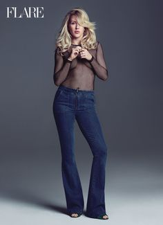 Singer Ellie Goulding is the ultimate beach body inspiration for FLARE Magazine Summer 2016 issue. Black Fishnet Top, Black Fishnets, Beach Body Inspiration, Sheer Shirt, Ellie Goulding, Glamour, Beauty Magazine, Celebs, Celebrities