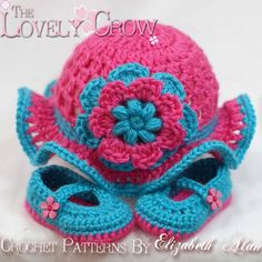 Baby Crochet Patterns Teaparty Set.  Includes patterns for Teaparty Hat, and Teaparty Mary Janes. digital via Etsy