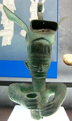Bronze Figure With Elaborate Headdress Sanxingdui Museum