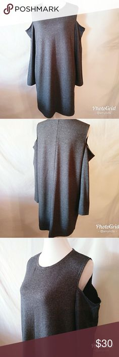 "Ny&Co Cold-Shoulder Sweatshirt Dress NY&co sweatshirt dress size - XL in graphite heather grey. Scoopneck with cold shoulder cut-outs and straight silhouette. Measures approximately 34"" from shoulder to hem. Lightweight and very comfortable! New York & Company Dresses"