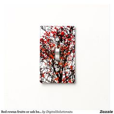 Red rowan fruits or ash berries light switch covers
