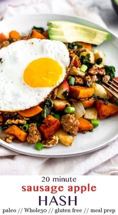 Sweet Potato Sausage Hash The perfect fall breakfast! Sweet and savory paleo sweet potato hash loaded with sausage, apple, sweet potato, greens, and warming spices. Ready in just 25 minutes and perfect for meal prep. – Eat the Gains Paleo Recipes Easy, Whole 30 Recipes, Real Food Recipes, Diet Recipes, Whole 30 Breakfast, Breakfast Hash, Fall Breakfast, Paleo Sweet Potato
