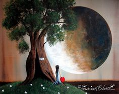 HOME SWEET HOME fine art print Surreal Fantasy Moon by Shawna Erback