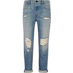 Alexander Wang Distressed mid-rise boyfriend jeans ($365) ❤ liked on Polyvore featuring jeans, blue, blue jeans, distressed boyfriend jeans, distressing jeans, button-fly jeans and destructed jeans