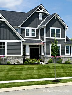 exterior of our modern Craftsman home! Sharing the exterior of my dark gray modern craftsman house with you from Thrifty Decor Chick!Sharing the exterior of my dark gray modern craftsman house with you from Thrifty Decor Chick! Design Exterior, Grey Exterior, House Paint Exterior, Exterior House Colors, Craftsman Exterior Colors, Dark Siding House, Stone On House Exterior, Exterior Paint Colors For House With Stone, Siding Colors For Houses