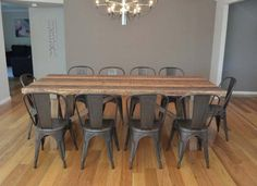 2.36M INDUSTRIAL TABLE WITH 10 REPLICA TOLIX CHAIRS BAYGALDS415