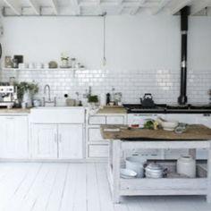 White floorboards in lovely kitchen