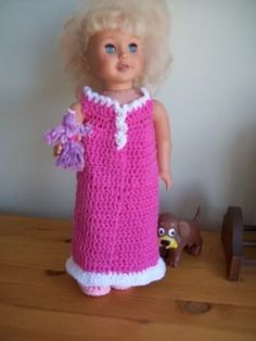 """Page 1 of 2 - """"Say Goodnight Gracie"""" –  nightgown for 18 inch doll - posted in Free Original Patterns: """"Say Goodnight Gracie"""" – nightgown for 18 inch doll      These yarns (more mill ends) are what I would call a hefty Sports weight rather than a WW yarn. I started with a 5.mm hook and changed up at the ruffle. Yarn colours: deep pink, pink, and white.The nightgownRow 1: With deep pink. Ch 55, hdc in 2nd ch from hook and the next 7, ch 4, skip 11, hdc in 16, ch 4, sk 11, hdc in..."""