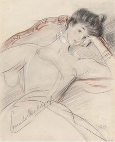 Consuelo, Duchess of Marlborough sketched by Paul César Helleu. The romantic relationship they had is wonderfully evident.