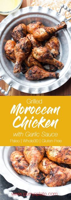 Grilled Moroccan Chicken with Garlic Sauce | grilled chicken recipes | paleo recipes | Whole30 recipes | perrysplate.com