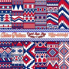Aztec bleu rouge