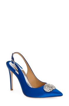Free shipping and returns on Badgley Mischka 'Sansa' Slingback Pump (Women) at Nordstrom.com. An ornate, crystal-encrusted ornament gleams at the toe of a standout evening pump finished with a graceful slingback strap.