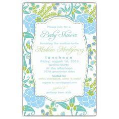 Blue Green Garden Baby Shower Invitations