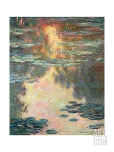 Waterlilies, 1907 Stretched Canvas Print by Claude Monet at Art.com