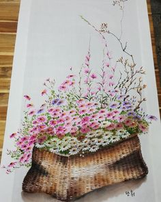 언제나맑음공방 / 부산 광목그림 천아트 : 네이버 블로그 Fabric Painting, Fabric Art, Watercolour Painting, Painting & Drawing, China Clay, One Stroke Painting, Flower Images, Pretty Pictures, Printing On Fabric