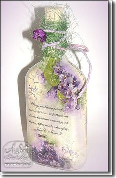 modge podge a pretty greeting card on and add accents! Wine Bottle Art, Glass Bottle Crafts, Diy Bottle, Decoupage Glass, Decoupage Art, Altered Bottles, Bottle Painting, Bottles And Jars, Recycled Crafts
