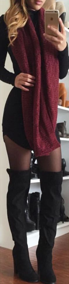 #fall #fashion / black dress + red