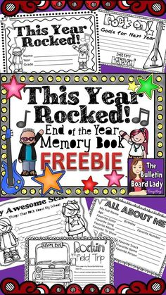 End of the Year Memory Book FREEBIE This year rocked!!! Let's create a memory book to remember all of the good times! This memory book features a rock star theme and these five pages in half sheet format: This Year Rocked Title Sheet (not grade specific) All About Me Rockin' the Field Trip My Awesome School Rock on! (goals for next year).