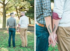 Gorgeous, sunlit engagement shoot.  Matching tattoos. #fall #gay #engagement #lgbt #inspiration #pittsburgh #photoshoot #rosemary #love #whattowear