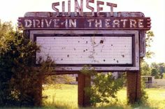 Sunset Drive-In Theater Marquee . Drive Inn Movies, Drive In Movie Theater, Abandoned Buildings, Abandoned Places, St Simons Island, Georgia Homes, Vintage Signs, Vintage Posters, Family Roots