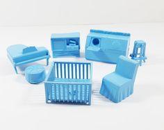 Vintage Set Of Various Superior Light Blue By ElysianVintageMN Plastic Doll,  Dollhouse Furniture, Home