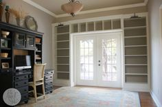 for the long term: when we get french doors DIY Billy Bookcase Built Ins - IKEA Hackers - do this in LR? add window seat on the left? Doors Repurposed, Billy Bookcase, Furniture, Bookcase, Home Remodeling, Diy Kitchen Furniture, Home, Bookcase Diy, Built In Bookcase