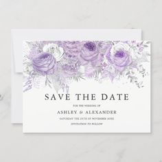 Lavender Purple White Silver Flower Save The Date