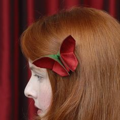 Silk Origami Butterfly Hair Clip Fascinator Christmas Colors Red and Green Dark Green and Red/Black Silks LARGE SIZE
