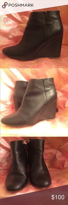 """COS black wedged heel booties size 8 This is a very nice pair of wedged heels booties by cos size 8 /39 black in color heels Length is 3"""" COS Shoes Ankle Boots & Booties"""