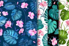 Tropical flowers pattern set by Romantic Vintage Flowers on @creativemarket